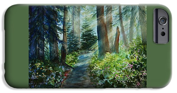Light And Dark  iPhone Cases - Around The Path iPhone Case by Kerri Ligatich