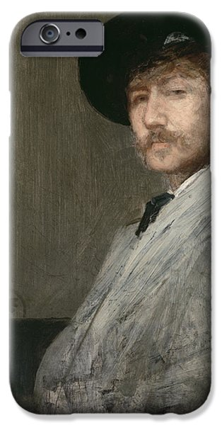 ist Self Portrait Paintings iPhone Cases - Arrangement in Grey  Portrait of the Painter iPhone Case by James Abbott McNeill Whistler