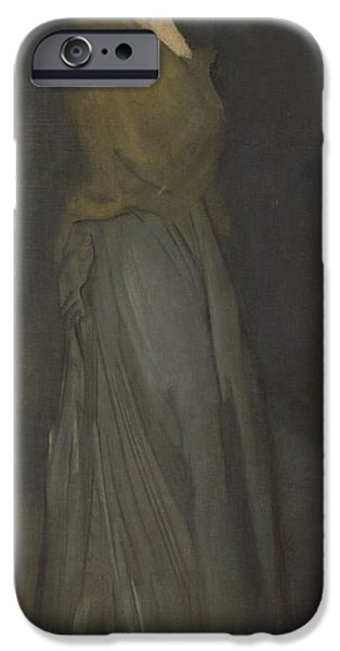 1876 Paintings iPhone Cases - Arrangement in Yellow and Gray iPhone Case by James Abbott McNeill Whistler