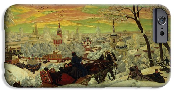 Setting Sun iPhone Cases - Arriving for the Holidays iPhone Case by Boris Mihajlovic Kustodiev