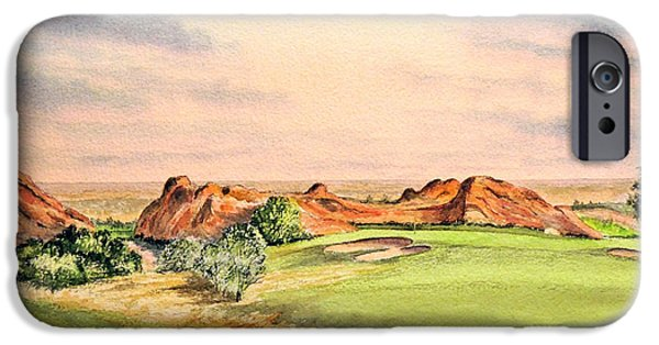 Red Rock iPhone Cases - Arrowhead Golf Course Colorado Hole 3 iPhone Case by Bill Holkham