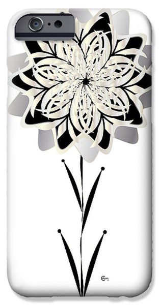 Constructivist iPhone Cases - Art Deco Bloom Number 3 iPhone Case by Cecely Bloom