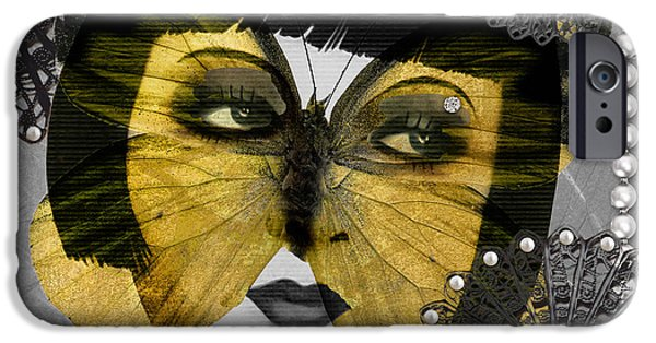 Filigree iPhone Cases - Art Deco Butterfly Woman iPhone Case by Mindy Sommers