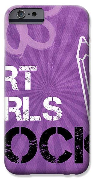 Art Girls Rock iPhone Case by Linda Woods
