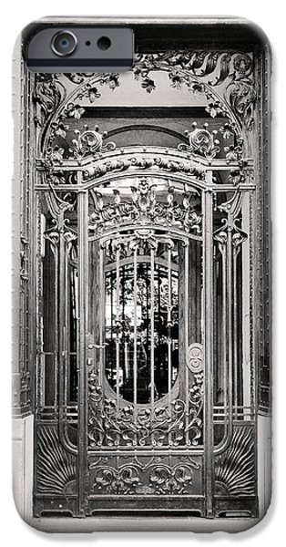 19th Century Reliefs iPhone Cases - Art Nouveau Iron Gate Budapest iPhone Case by James Dougherty