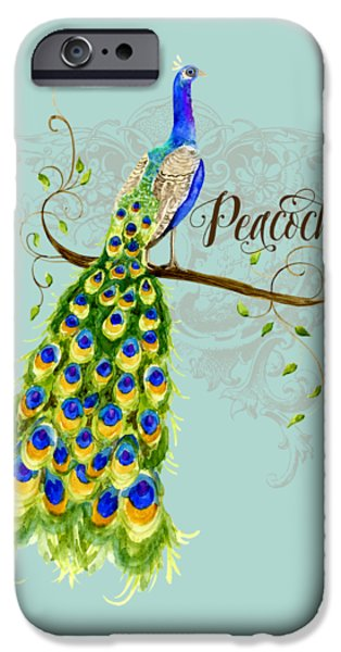 Fashion Designer Art iPhone Cases - Art Nouveau Peacock w Swirl Tree Branch and Scrolls iPhone Case by Audrey Jeanne Roberts