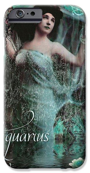 Aquarius iPhone Cases - Art Nouveau Zodiac Aquarius iPhone Case by Mindy Sommers