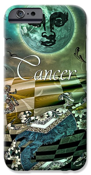 Signs Of The Zodiac Paintings iPhone Cases - Art Nouveau Zodiac Cancer iPhone Case by Mindy Sommers