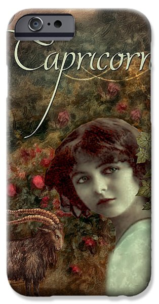 Signs Of The Zodiac Paintings iPhone Cases - Art Nouveau Zodiac Capricorn iPhone Case by Mindy Sommers