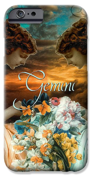 Signs Of The Zodiac Paintings iPhone Cases - Art Nouveau Zodiac Gemini iPhone Case by Mindy Sommers