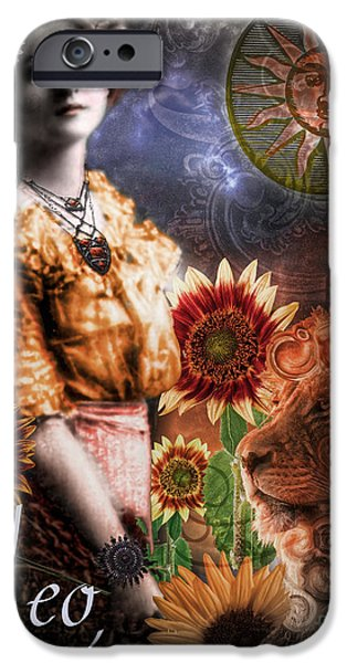 Planet Paintings iPhone Cases - Art Nouveau Zodiac Leo iPhone Case by Mindy Sommers