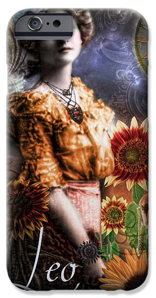 Signs Of The Zodiac Paintings iPhone Cases - Art Nouveau Zodiac Leo iPhone Case by Mindy Sommers