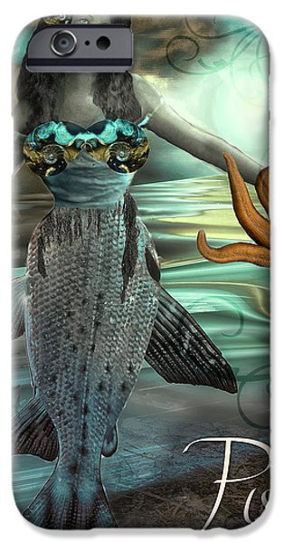 Signs Of The Zodiac Paintings iPhone Cases - Art Nouveau Zodiac Pisces iPhone Case by Mindy Sommers