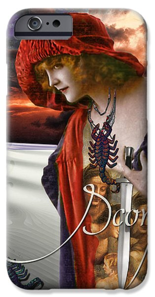 Signs Of The Zodiac Paintings iPhone Cases - Art Nouveau Zodiac Scorpio iPhone Case by Mindy Sommers