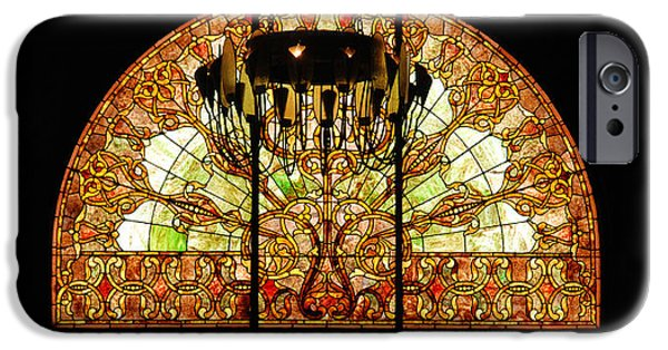 Tennessee Landmark iPhone Cases - Artful Stained Glass Window Union Station Hotel Nashville iPhone Case by Susanne Van Hulst