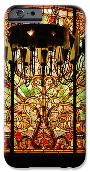 Artful Stained Glass Window Union Station Hotel Nashville iPhone Case by Susanne Van Hulst
