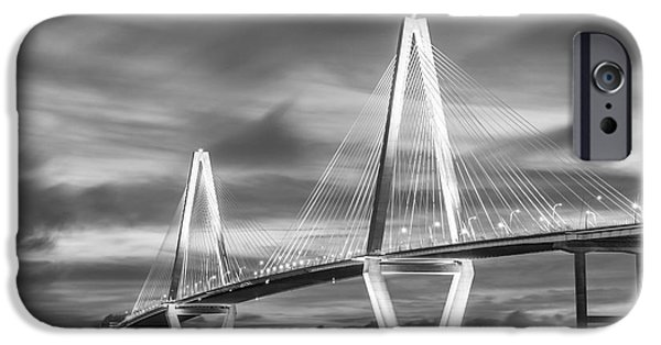 Patriots iPhone Cases - Arthur Ravenel Bridge At Night Grayscale iPhone Case by Jennifer White