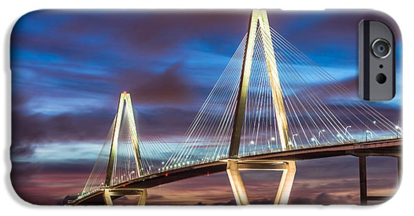 Patriots iPhone Cases - Arthur Ravenel Bridge At Night iPhone Case by Jennifer White