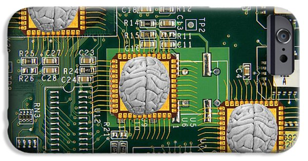 Circuit iPhone Cases - Artificial Intelligence, Conceptual iPhone Case by Victor de Schwanberg