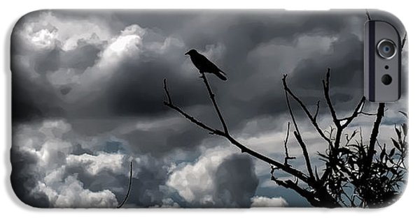 Crows iPhone Cases - artistic Crow Sky iPhone Case by Leif Sohlman