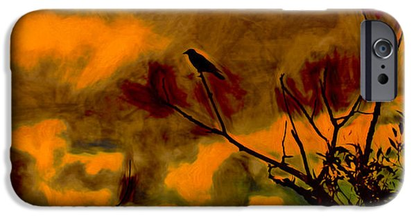 Crows iPhone Cases - artistic Crow Sky red iPhone Case by Leif Sohlman