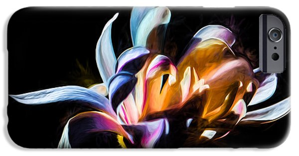 Paiting iPhone Cases - Artistic paiterly colored flower iPhone Case by Leif Sohlman
