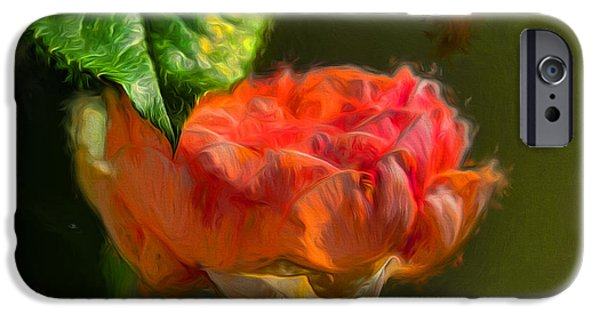 Paiting iPhone Cases - Artistic Rose and leaf iPhone Case by Leif Sohlman