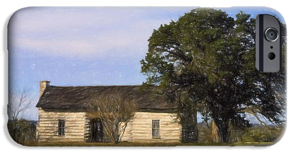 Log Cabin Digital iPhone Cases - Artistic Texas Log Cabin  iPhone Case by Linda Phelps