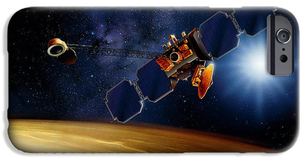 Space-craft iPhone Cases - Artwork Of Mars Surveyor 2001 Orbiter Above Mars iPhone Case by Detlev Van Ravenswaay