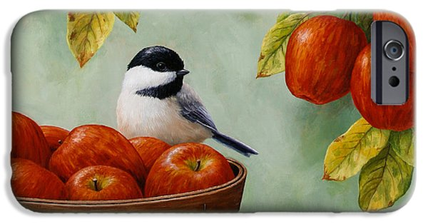 Apple iPhone Cases - Apple Chickadee Greeting Card 1 iPhone Case by Crista Forest