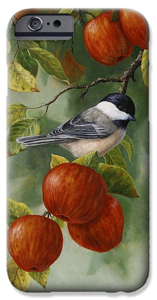 Apple Trees iPhone Cases - Apple Chickadee Greeting Card 2 iPhone Case by Crista Forest