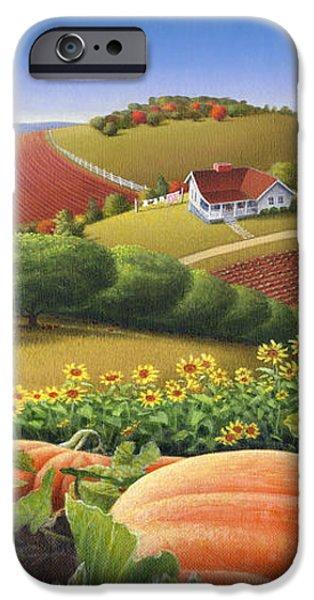 Farm Landscape - Autumn Rural Country Pumpkins Folk Art - Appalachian Americana - Fall Pumpkin Patch iPhone Case by Walt Curlee