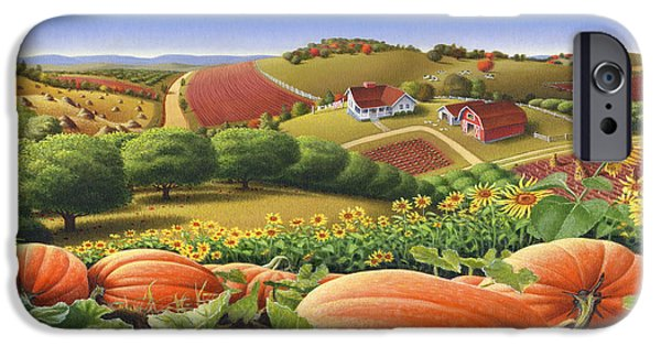 Old-fashioned iPhone Cases - Farm Landscape - Autumn Rural Country Pumpkins Folk Art - Appalachian Americana - Fall Pumpkin Patch iPhone Case by Walt Curlee