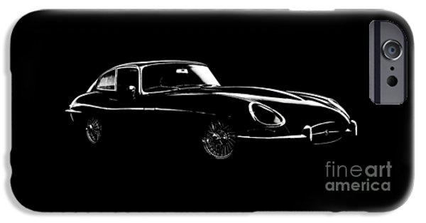 Jaguars iPhone Cases - Jaguar E Type Black Edition iPhone Case by Mark Rogan