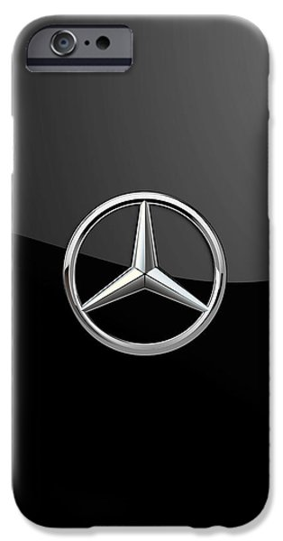 Retro Sport Car iPhone Cases - Mercedes-Benz - 3D Badge on Black iPhone Case by Serge Averbukh