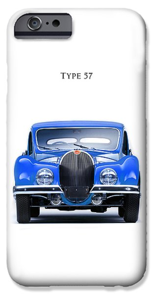 Bugatti Vintage Car iPhone Cases - Bugatti Type 57 iPhone Case by Mark Rogan
