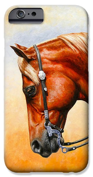 Tack iPhone Cases - Precision - Horse Painting iPhone Case by Crista Forest