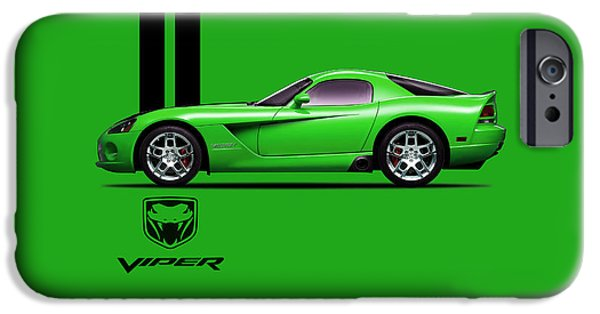 Dodge iPhone Cases - Dodge Viper Snake Green iPhone Case by Mark Rogan