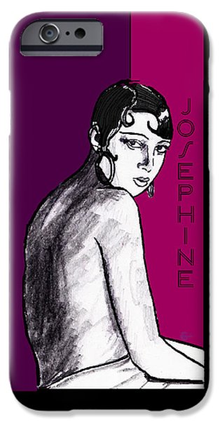 Plum Drawings iPhone Cases - Josephine Baker Portrait in Plum Pink iPhone Case by Cecely Bloom
