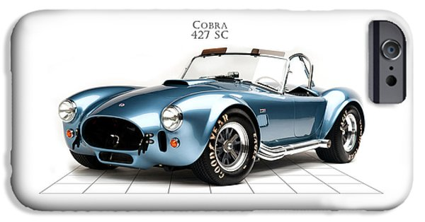 Motor Sport iPhone Cases - Shelby Cobra 427 SC 1965 iPhone Case by Mark Rogan