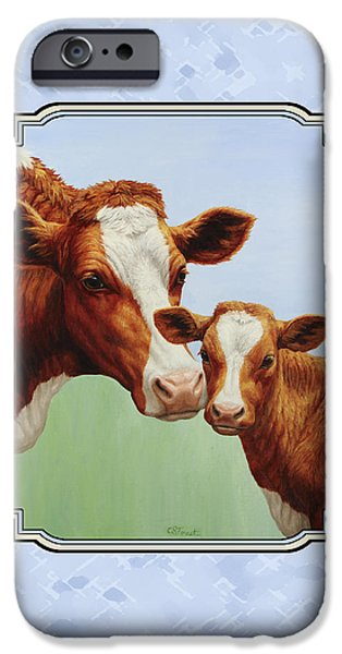 Farm Animals Paintings iPhone Cases - Cream and Sugar iPhone Case by Crista Forest