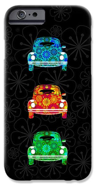 60s Photographs iPhone Cases - VW Flower Power iPhone Case by Mark Rogan