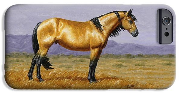 Wild Horse iPhone Cases - Buckskin Mustang Stallion iPhone Case by Crista Forest