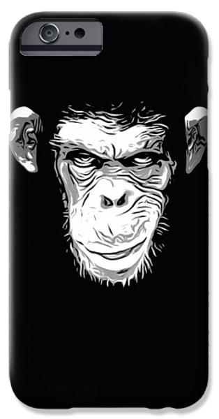 Ape Digital Art iPhone Cases - Evil Monkey iPhone Case by Nicklas Gustafsson