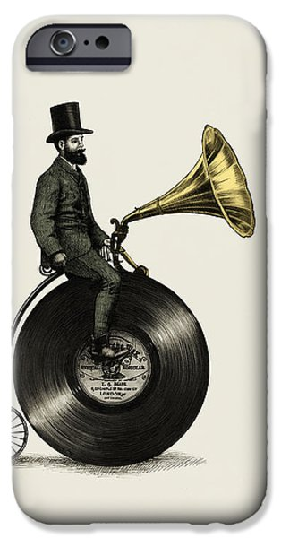 Victorian Drawings iPhone Cases - Music Man iPhone Case by Eric Fan