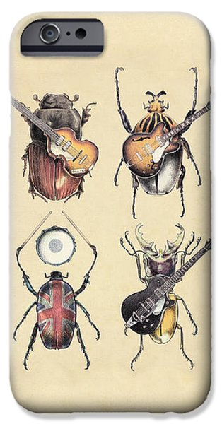 Music Drawings iPhone Cases - Meet the Beetles iPhone Case by Eric Fan