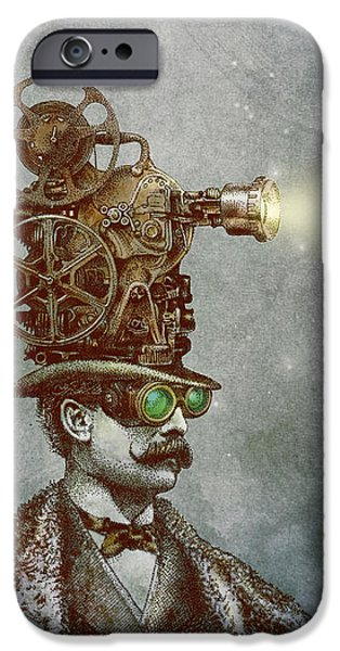Victorian Drawings iPhone Cases - The Projectionist iPhone Case by Eric Fan