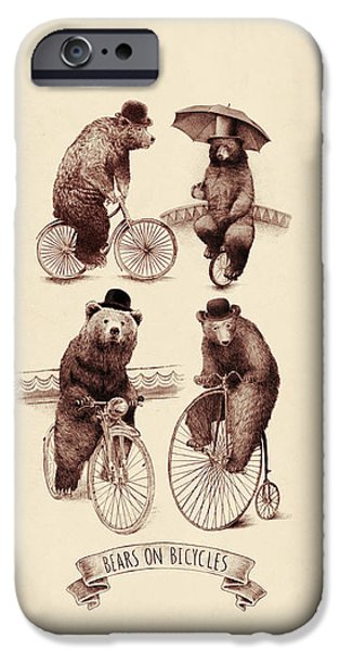 Umbrella iPhone Cases - Bears on Bicycles iPhone Case by Eric Fan