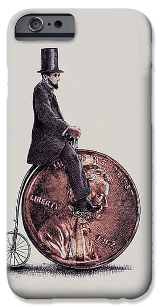 Coins Drawings iPhone Cases - Penny Farthing iPhone Case by Eric Fan