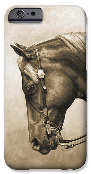 Tack iPhone Cases - Western Horse Painting In Sepia iPhone Case by Crista Forest
